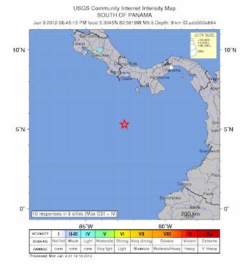 Epicentro sismo de 6,6 grados en el mar al sur de panamá