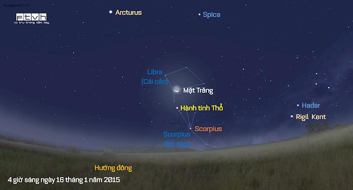 Minh họa bầu trời hướng đông đông nam vào 4 giờ sáng ngày 16 tháng 1 năm 2015.