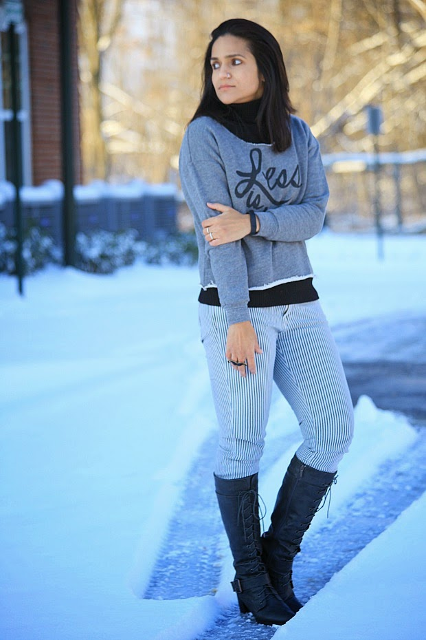High Neck - Ralph Lauren Sweat Shirt - Sincerely Jules Shop Boots - Wanted Bag - Kate Spade, Tanvii.com