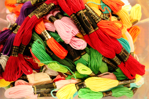 colourful embroidery threads