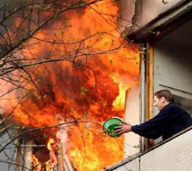 trying to escape from fire