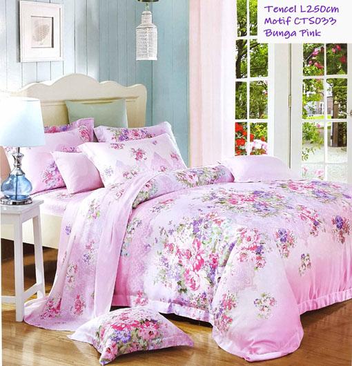 Sprei Tencel Motif Bunga Pink