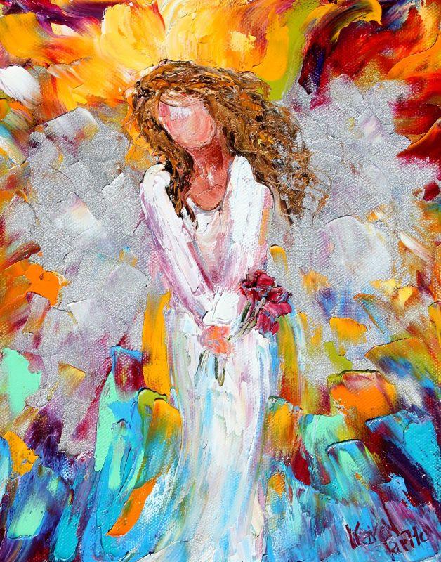 Karen Tarlton: Original oil painting Angel with Roses by Karen Tarlton Oil Paintings Of Angels