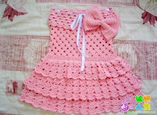 Free Baby Crochet Patterns Diagrams : Receita de Croch? Infantil: VESTIDO INFANTIL DE BABADOS EM ...