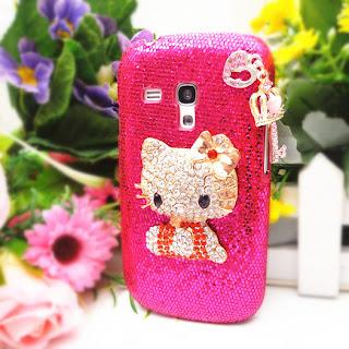 KK31 Bling Hellokitty 3D Love Key For Samsung Galaxy Mini S3 i8190 Case Cover