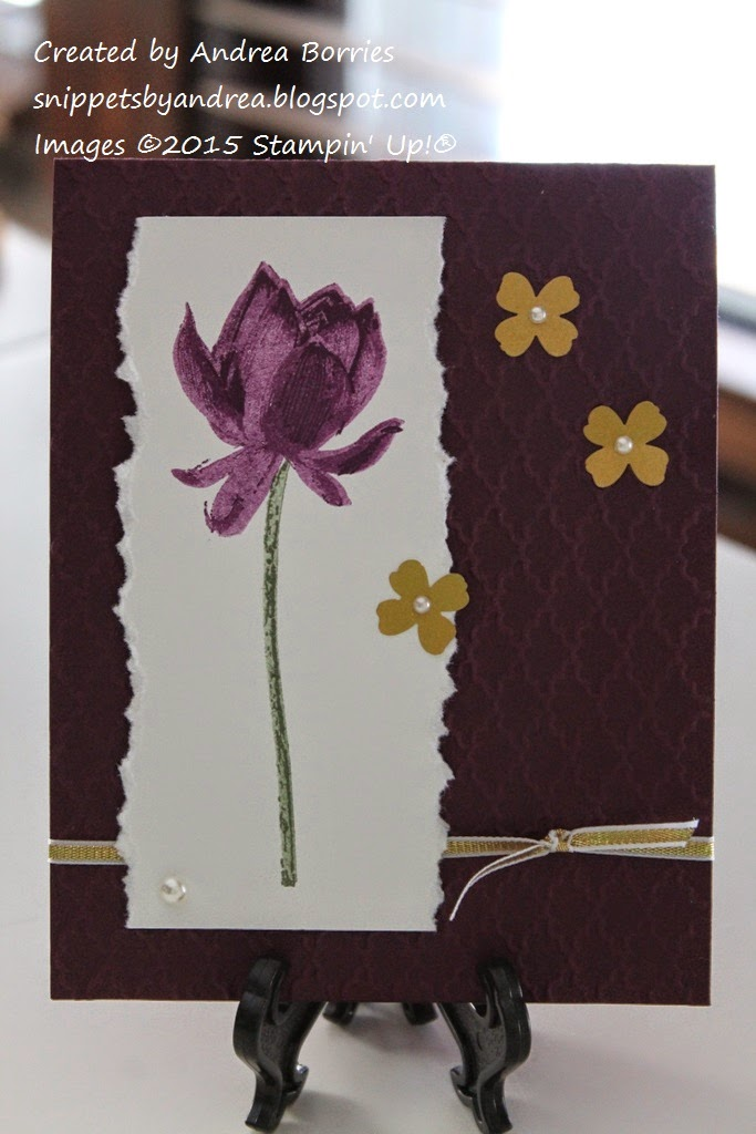 Card made with Blackberry Bliss card base, Lotus Blossom stamp set and Fancy Fan embossing folder.