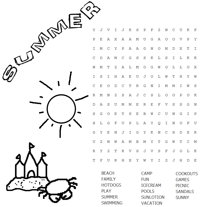 Lesson plan with summer word search at pre-schools