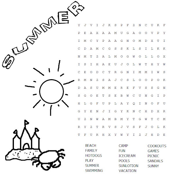 Summer Fun Word Search Printable
