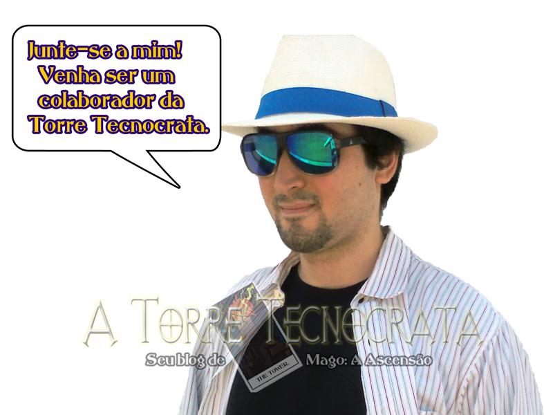 """Mauricio com o balão de quadrinhos escrito """"Junte-se a mim! Venha ser um colaborador da Torre Tecnocrata."""""""