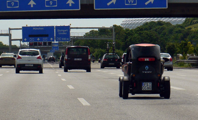 Renault Twizy on the German autobahn