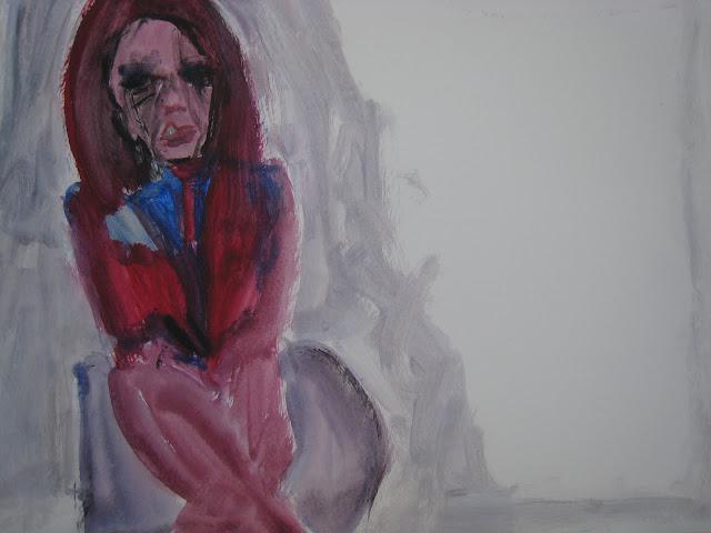 Pintura que muestra a una Mujer de rojo sentada sola, pensando y con el maquillaje corrido, obra de Emebezeta