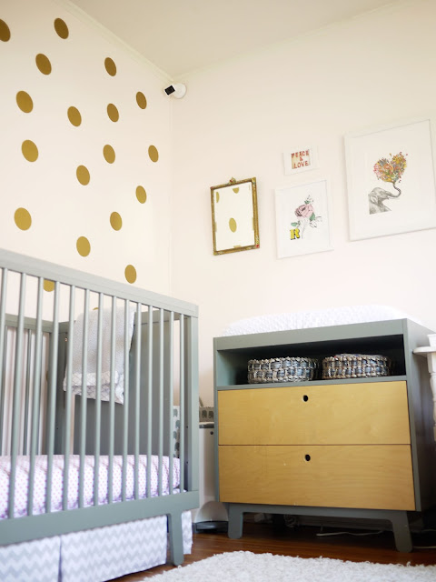urban walls gold polka dots