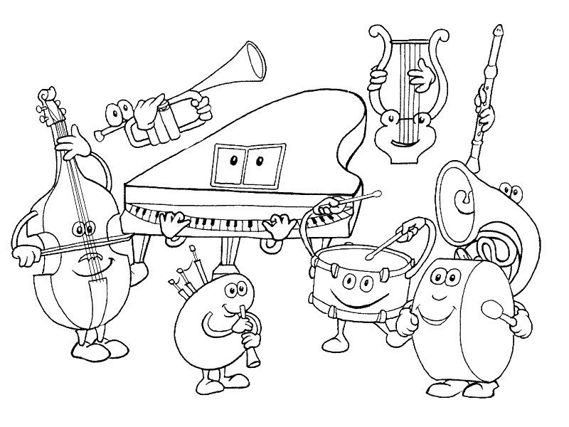 free music instrument coloring pages - photo#2