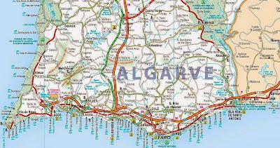 Mapa rodoviário do Sul de Portugal