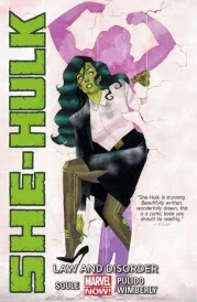 Cover of She-Hulk: Law and Disorder, featuring a green-skinned woman in a black suit peering abashedly around a crumbling white wall. Her shadow strikes a wrestler's pose behind her.