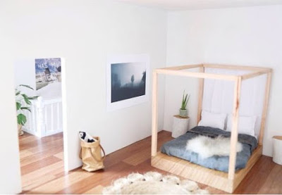 Modern dolls' house miniature minimalist bedroom  in pale shades
