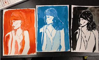 drie keer portret in ecoline en inkt