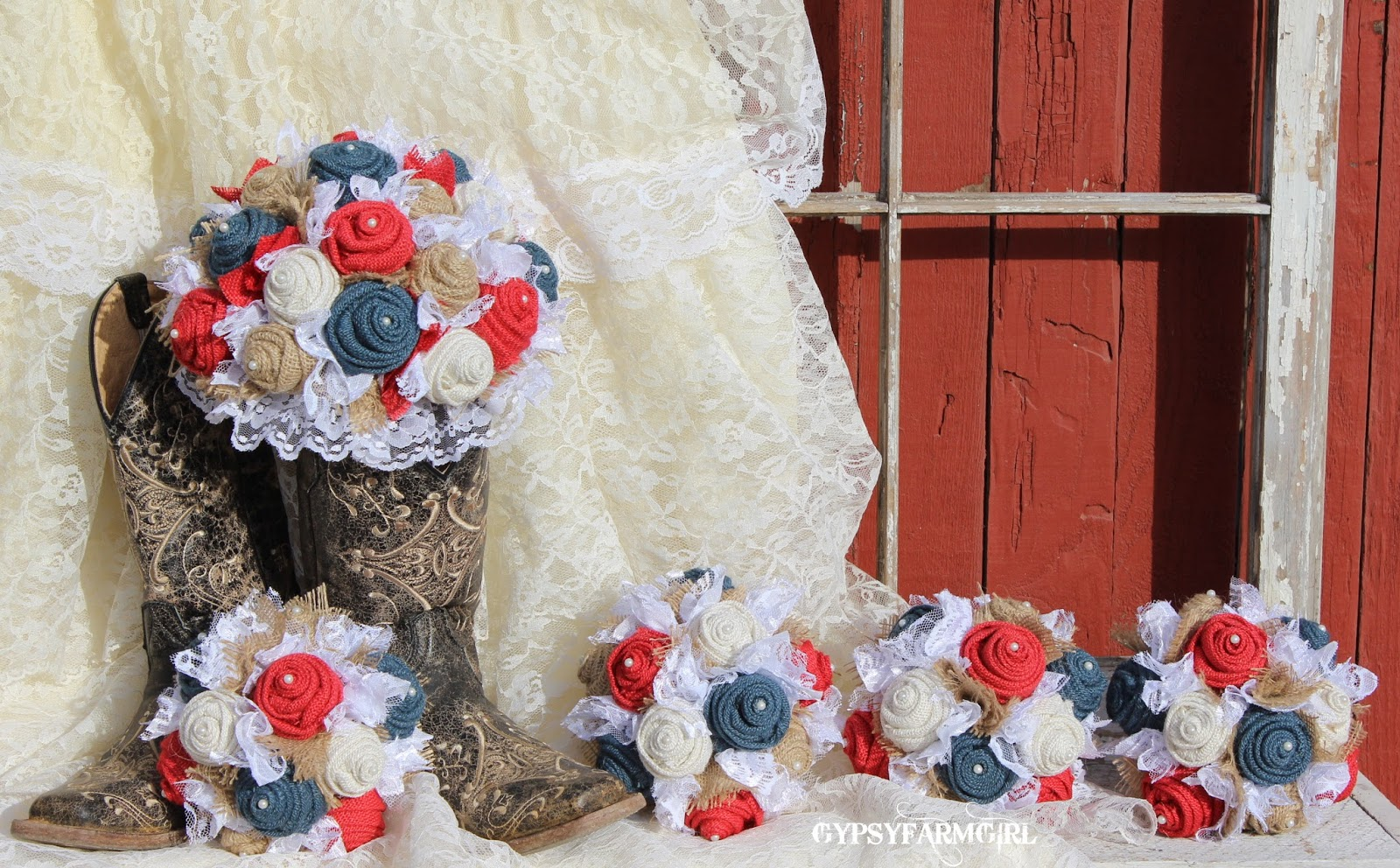 burlap and lace wedding  - bridal bouquets