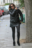 Kelly Brook wearing a winter jacket