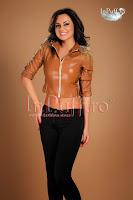 Geaca Atmosphere piele ecologica maron cu tinte (Atmosphere Fashion)