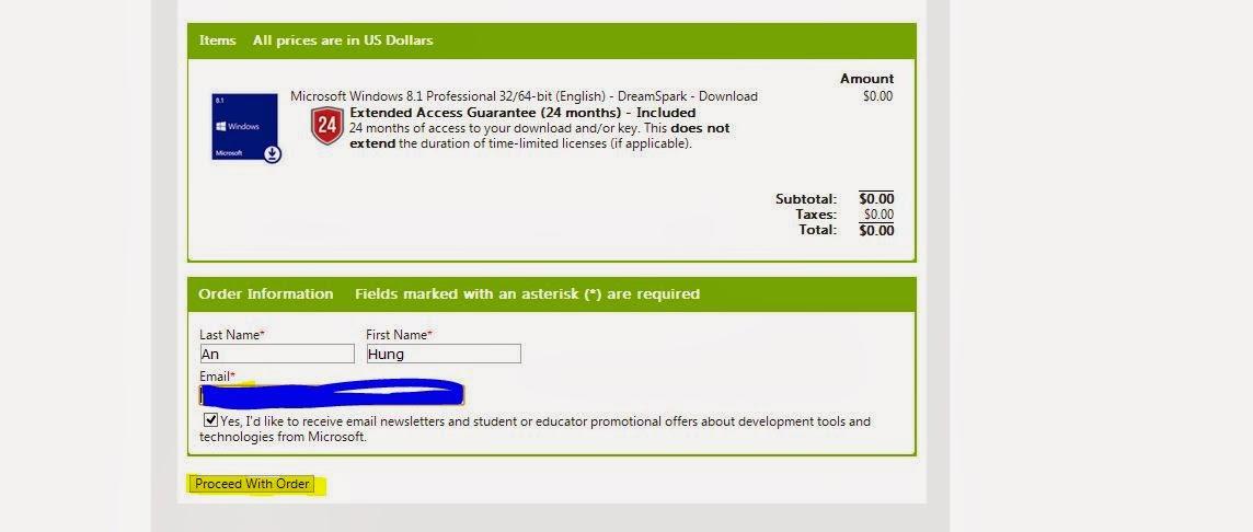 Hướng dẫn đăng kí và sử dụng tài khoản MSDN Microsof Dream Spart