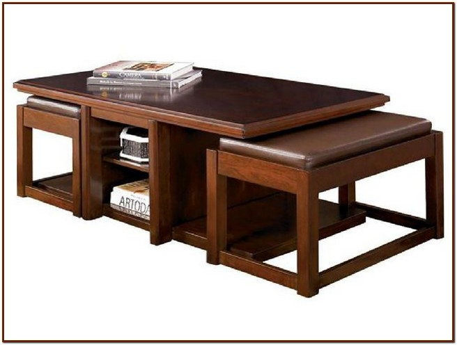 Coffee table with stools for your home for coffee lovers for Coffee table with stools underneath