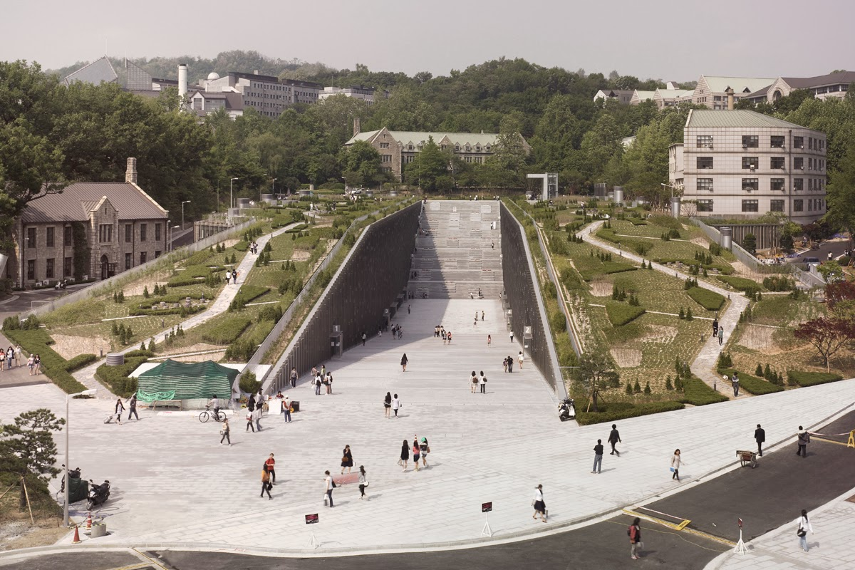 Ewha university library is design on the story of Moses parting the red sea.