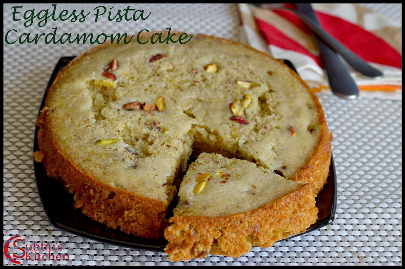 Eggless Pistachio Cardamom Cake Recipe (Pressure Cooker Method)