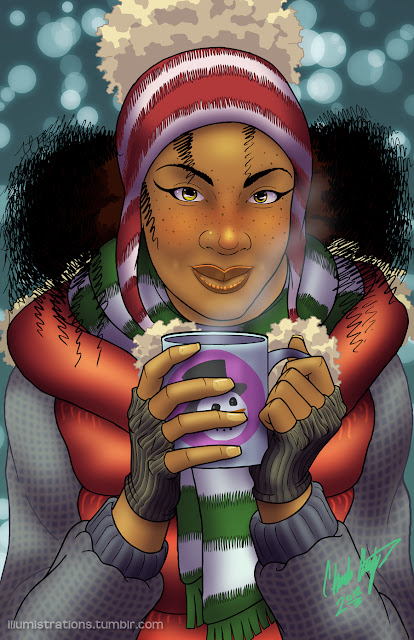 african american holiday winter seasons greetings african american woman female drawing illustration artwork