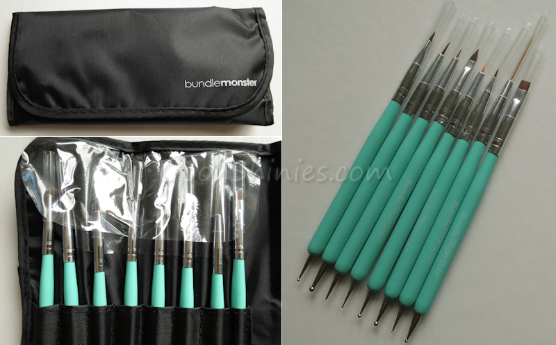 Bundle Monster Cute Turquoise 8pc Dual Sided Nail Art Brush and Dotting Tool Set
