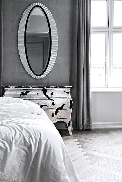 Interior Design bedroom wood floor dresser mirror