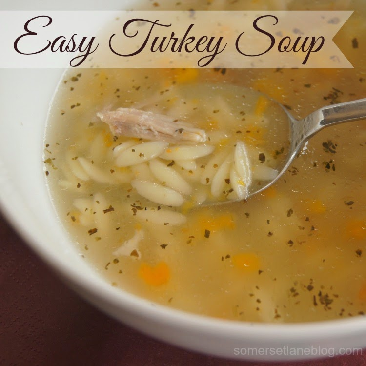 Easy Turkey soup made using turkey leftovers. Freeze the broth for future easy meals.