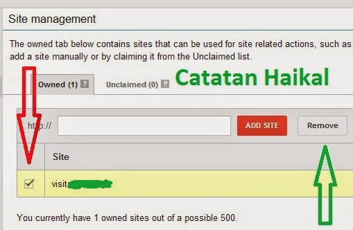 menghapus blog dari akun adsense