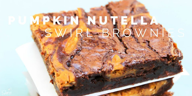 Pumpkin Nutella Swirl Brownies | Love Bakes Good Cakes