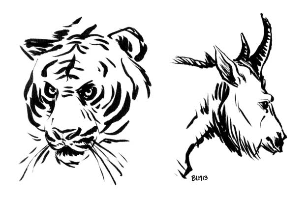 I Used The Pentel Pocket Brush Pen Again For This Tiger And Mountain Goat
