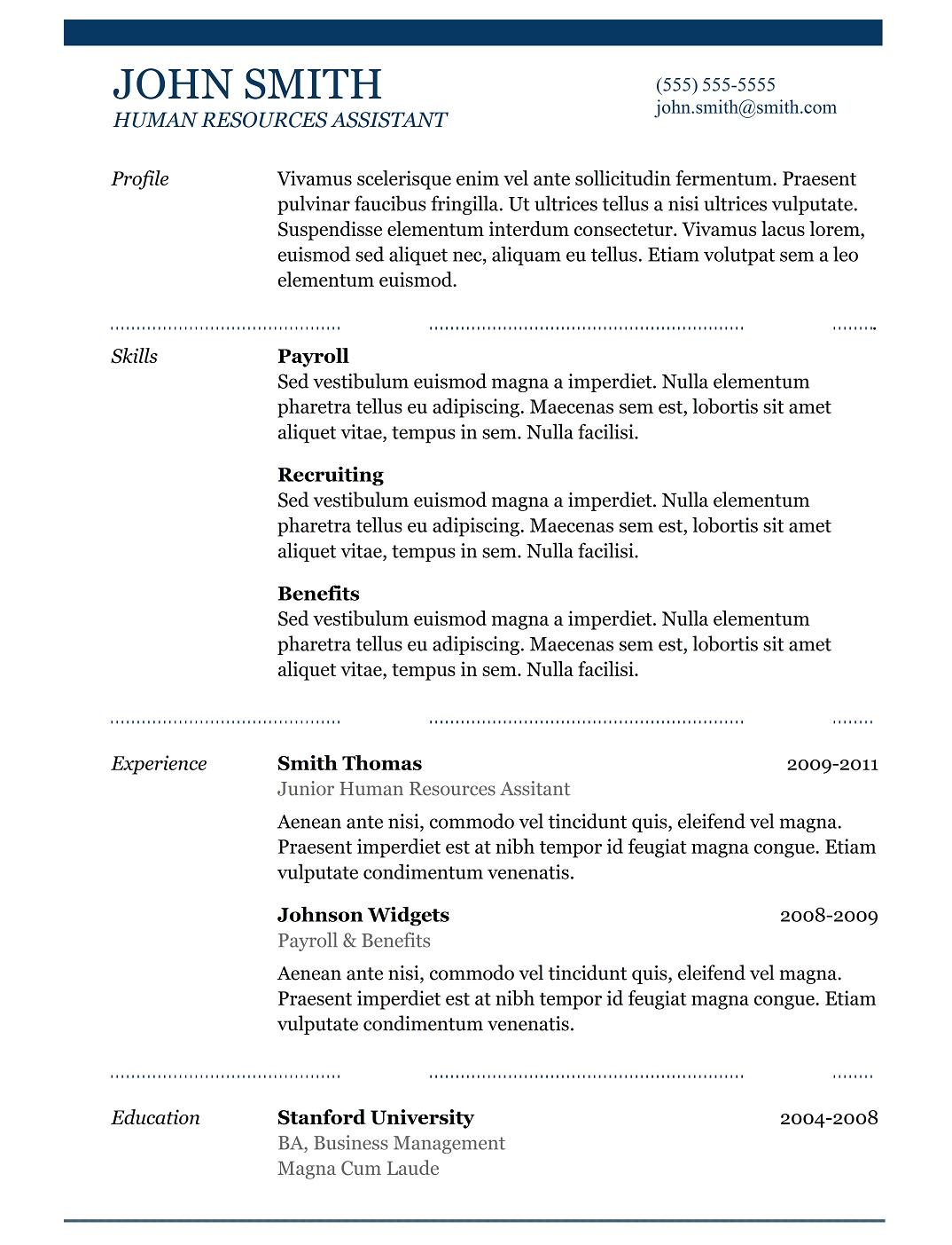 Simple Resume Templates Free Download  Best Professional Resume