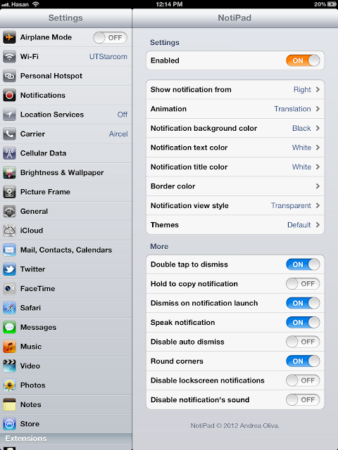 Notipad iPad Tweak