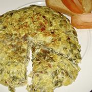 Tortilla de acelgas, cebolla y queso