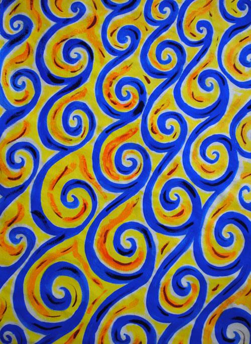 swirls blue yellow