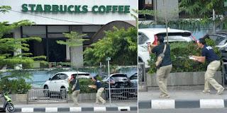 Foto - foto keren aksi baku tembak polisi dan teroris di tamrin