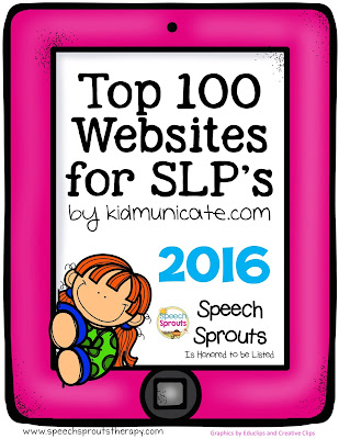 TOP 100 websites for SLPS 2016 - Speech Sprouts is honored to be chosen