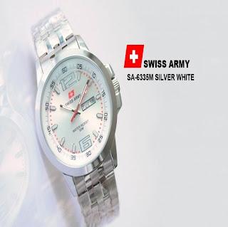jam tangan keren SWISS ARMY SA-6335M SILVER WHITE