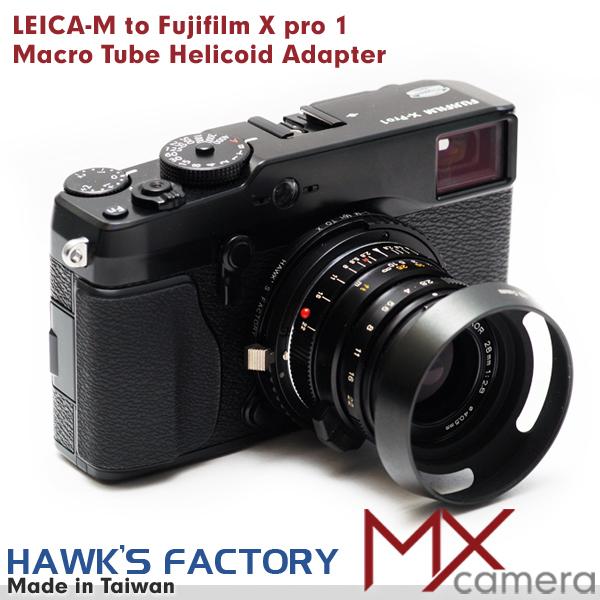 Hawk's Leica Leitz M lens to Fujifilm Fuji X pro 1 camera Macro helicoid adapter