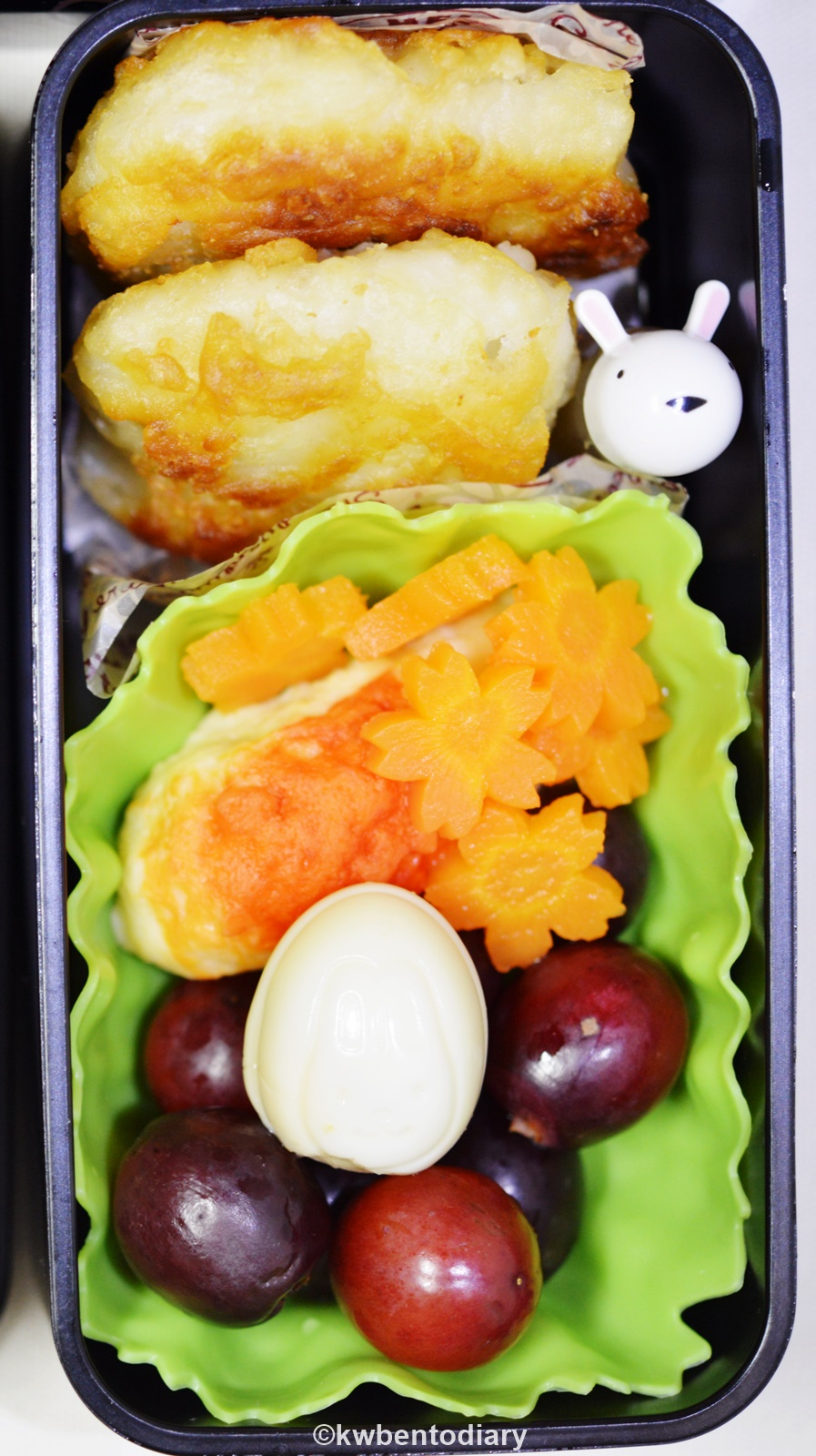 Karenwee 39 s bento diary bento2015 sep14 bunny sleeping bento for Side dishes for fried fish