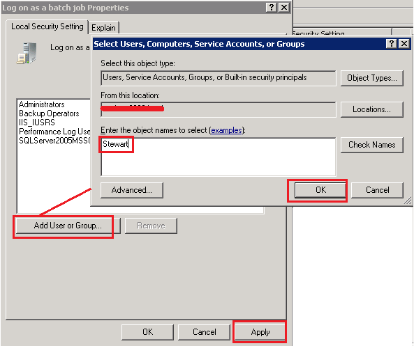 Set Logon as batch job rights to User by Powershell, C# and CMD