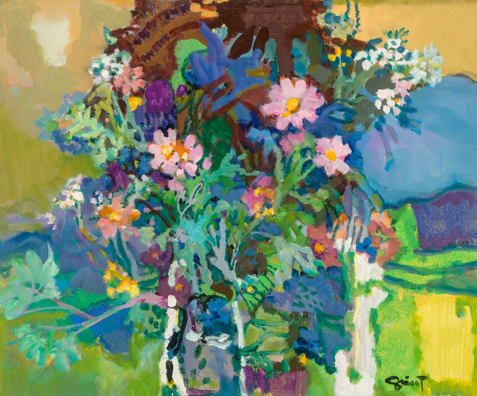 Pierre Grisot Deux Jeunes Fleurs