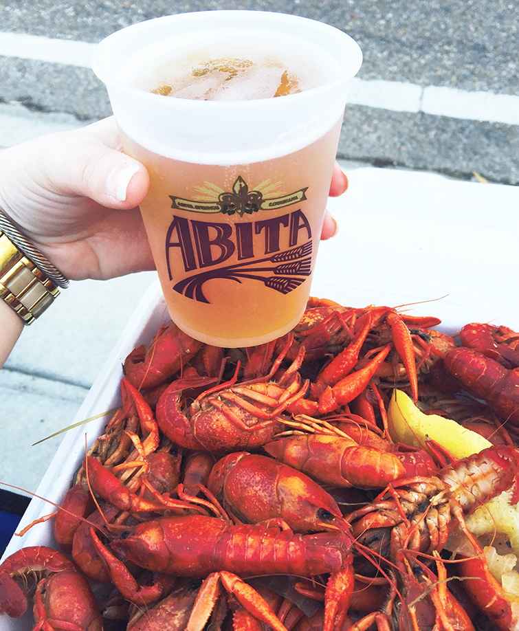boiled crawfish and abita strawberry