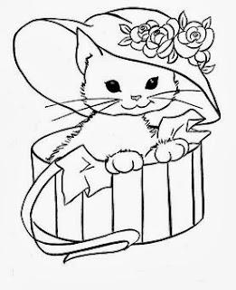 desenho de gata com chapeu para pintar