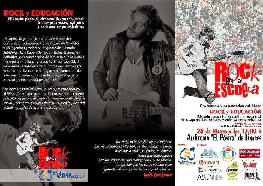 """Tríptico de la jornada """"ROCK en la ESCUELA"""", conferencia y presentación del libro """"Rock y Educación. Binomio para el desarrollo transversal de competencias, valores y cultura emprendedora"""""""