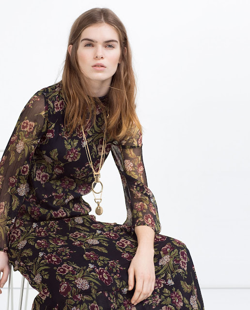 zara maxi black flower dress, zara maxi dress in floral print,